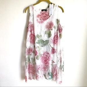 Cherish Made In Italy Rose Floral Lace Top Lined